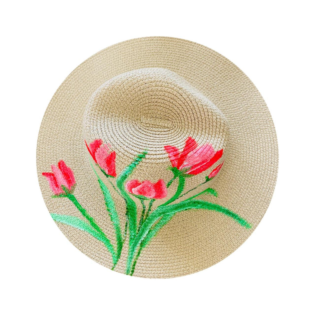 Straw Hat Hand Painted - Tulips