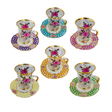 Load image into Gallery viewer, Roses Tea Cups with Dentelle Plate Set of 6 - Multicolor