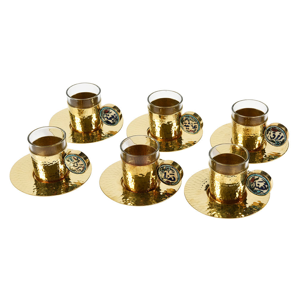 Coffee cups Gold with ichani handle set of 6pcs