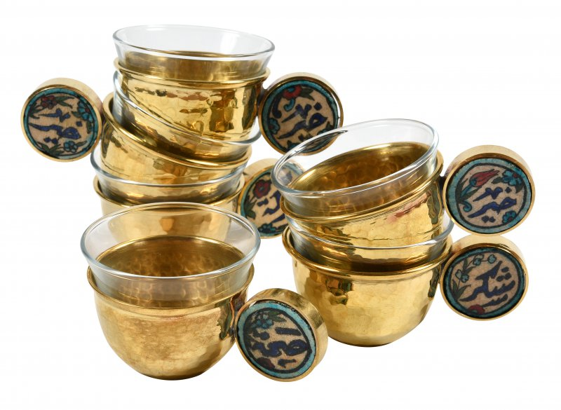 Arabic Coffee cups Gold with ichani handle set of 6pcs