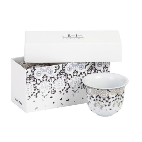 Silsal Gift Box of 2 Mirrors Arabic Coffee Cup - Silver