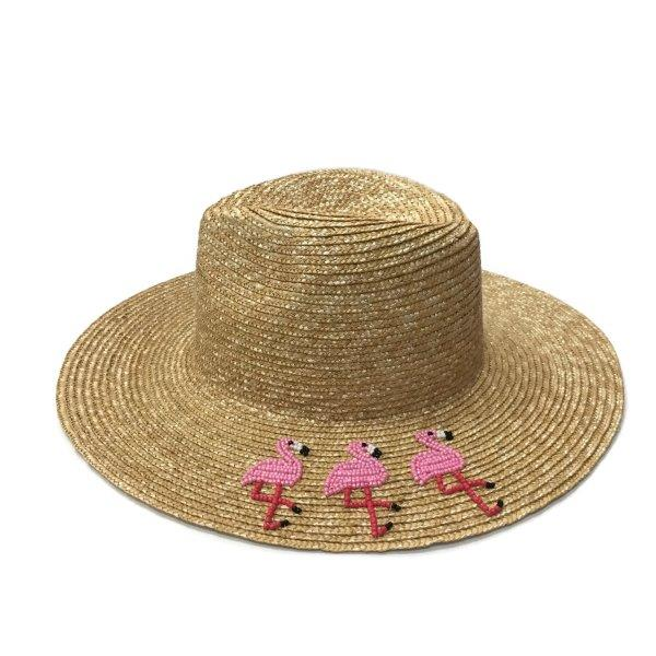 Straw Hat with Embroidered Beaded Flamingos - Pink