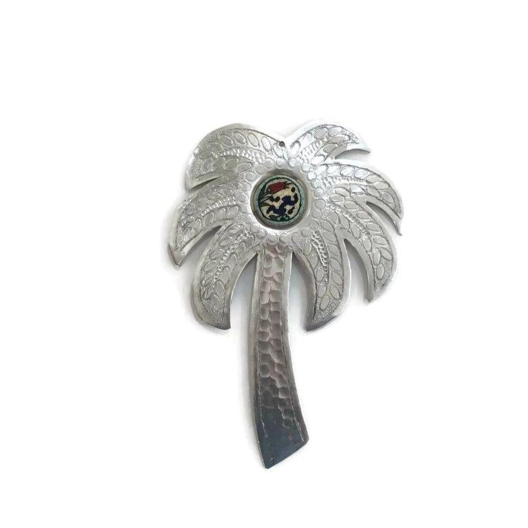 Palm Tree Charm with Ichani calligraphy - Silver