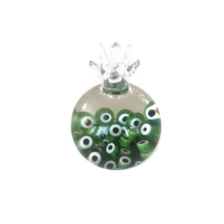 Glass Pomegranate with Evil eye - Green