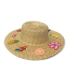 Load image into Gallery viewer, Straw Boater Hat with 10 Embroidered Beaded illustrations