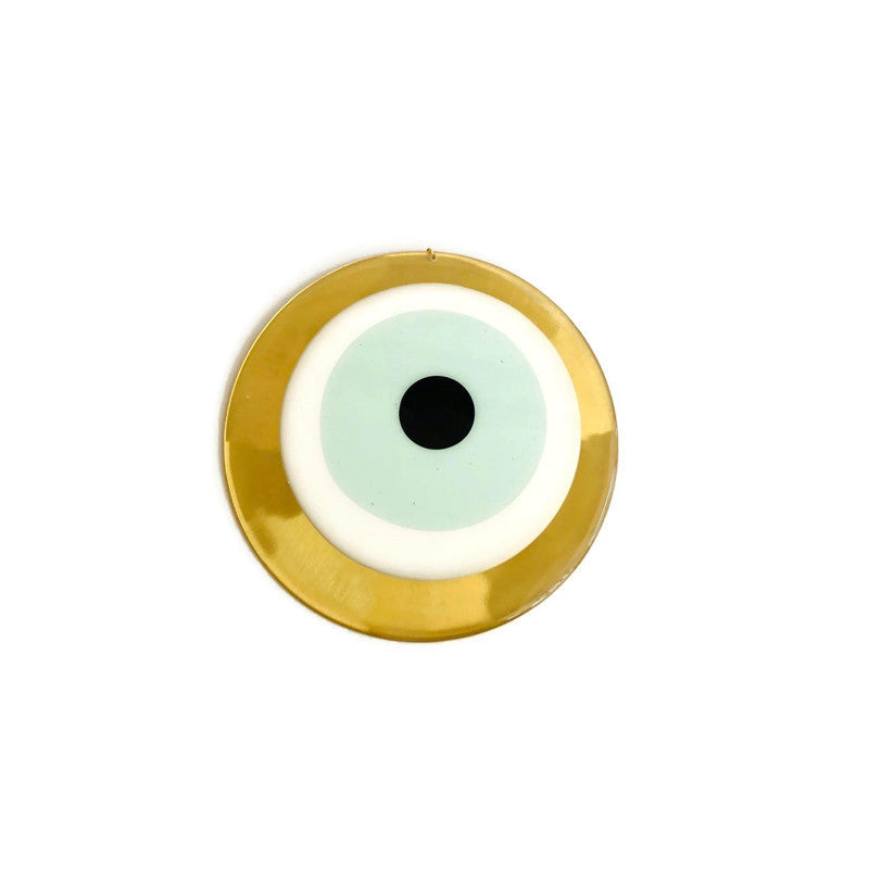 Mati Evil Eye Wall Hanging Large - Round - Light Green & Gold