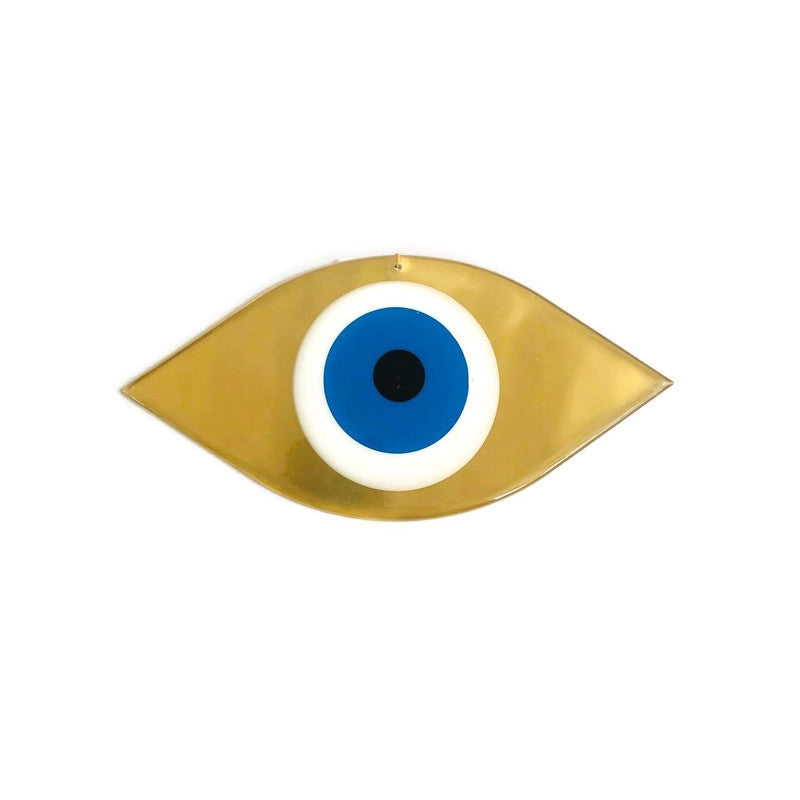 Mati Evil Eye Wall Hanging Large - Gold & Turquoise