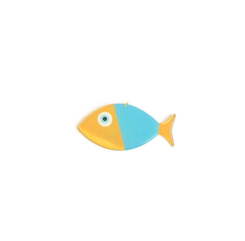 Fish Wall Hanging Medium - Blue & Gold