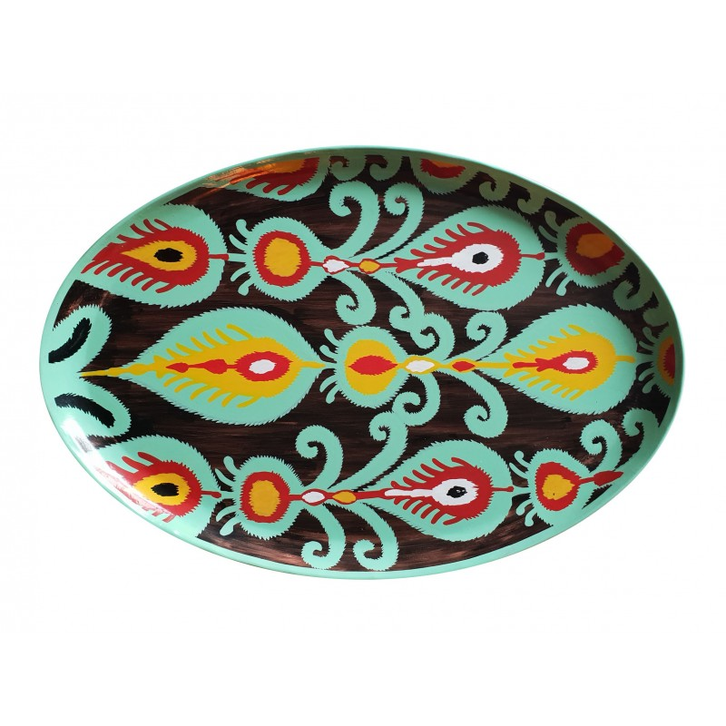 Les Ottomans Oval Painted Iron Tray - Black