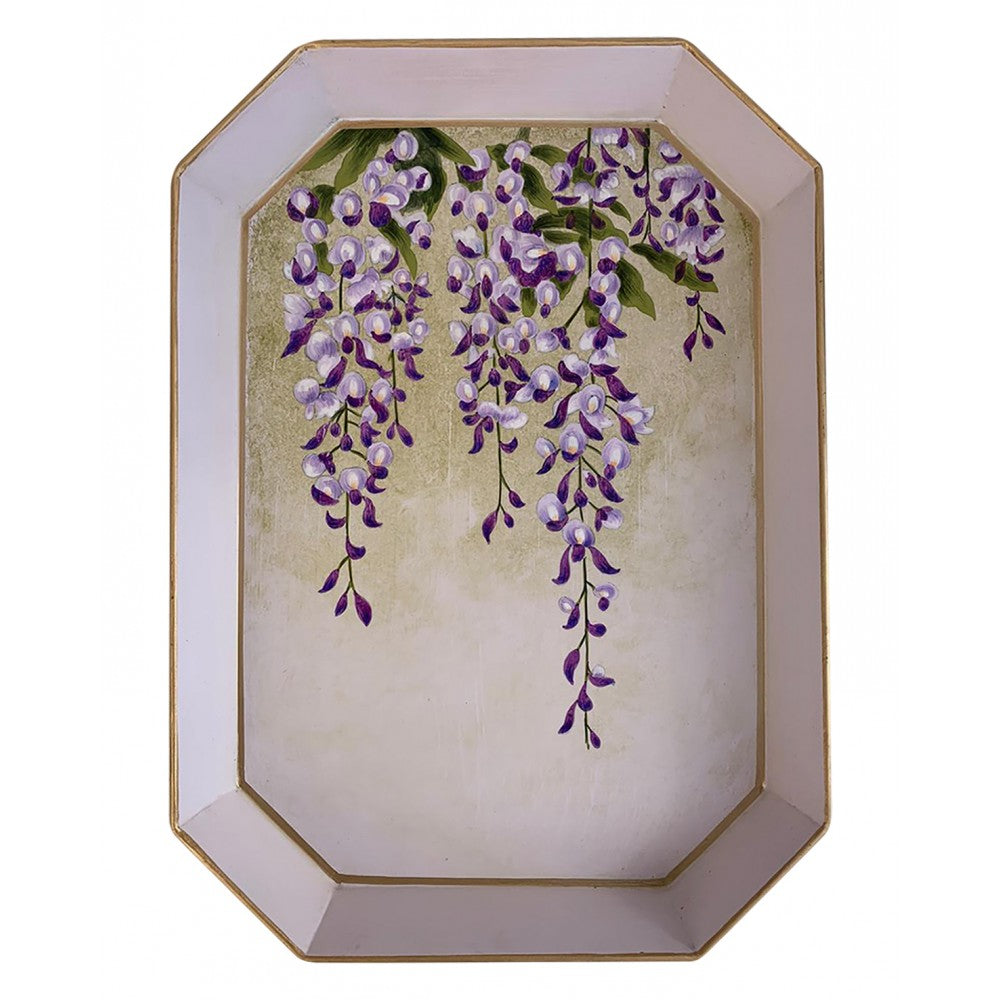 Les Ottomans Rectangular Painted Iron Tray - Wisteria