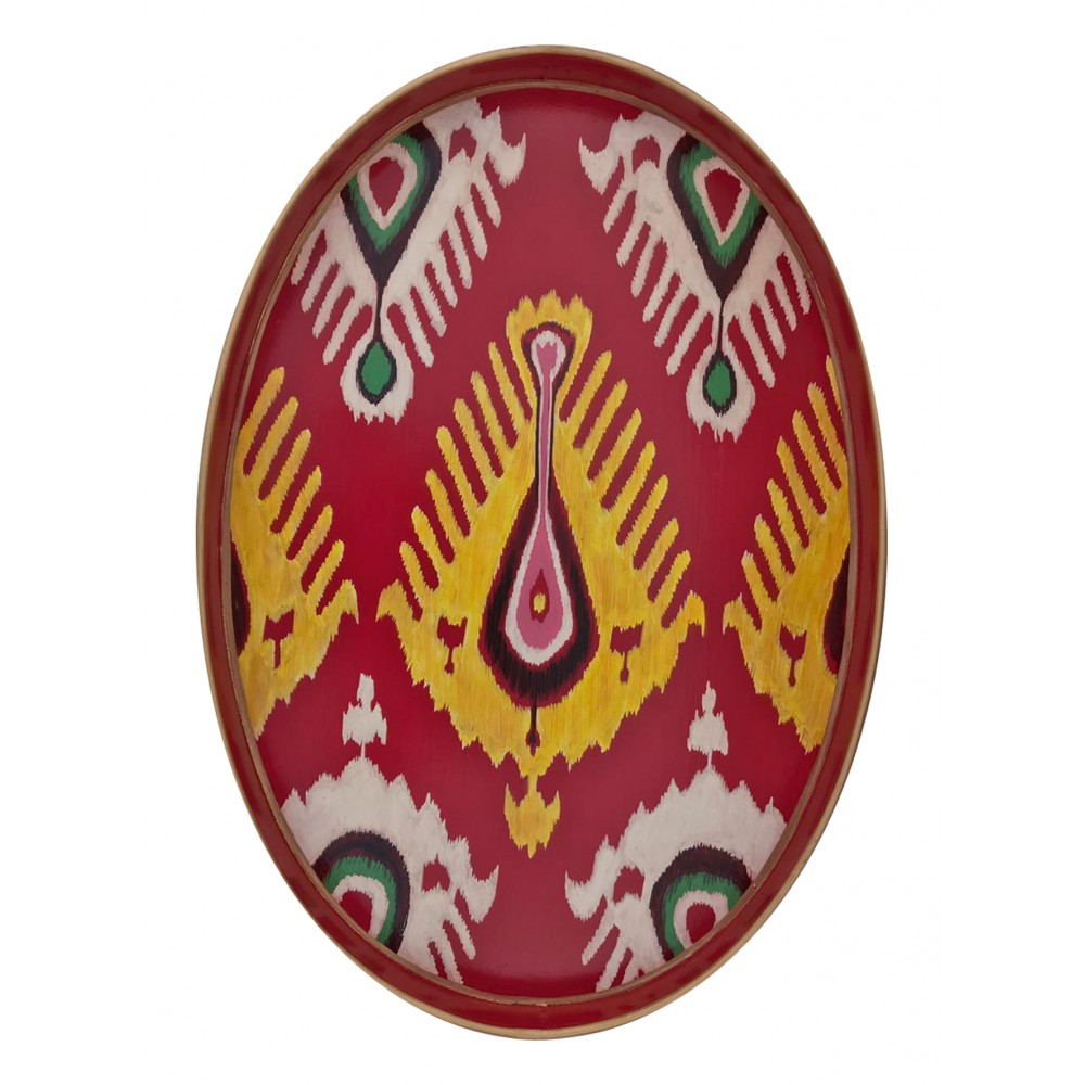 Les Ottomans Oval Painted Iron Tray - Ikat - Red