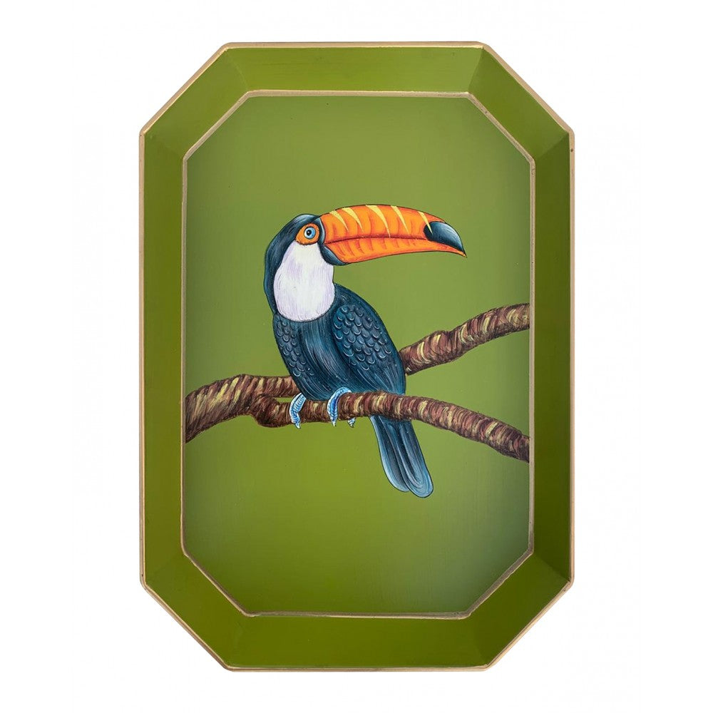 Les Ottomans Rectangular Painted Iron Tray - Toucan