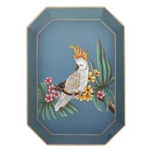 Load image into Gallery viewer, Les Ottomans Rectangular Painted Iron Tray - Parrot