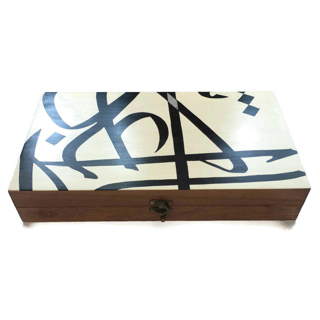 Wood Backgammon Set Large - Calligraphy White