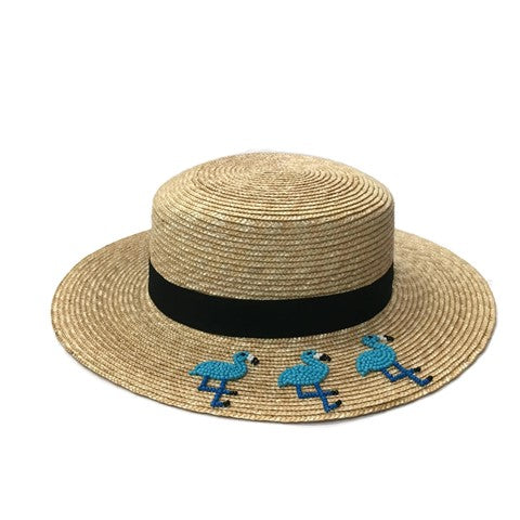 Straw Boater Hat with Embroidered Beaded 3 Flamingos- Blue