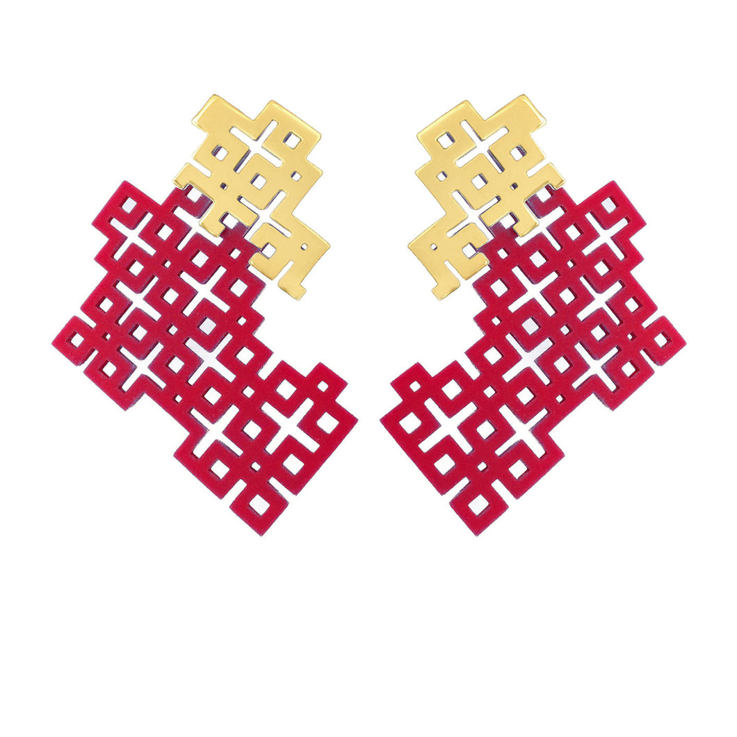 Narinee Siran Earrings- Red