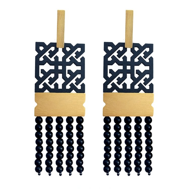 Narinee Sona Earrings- Black