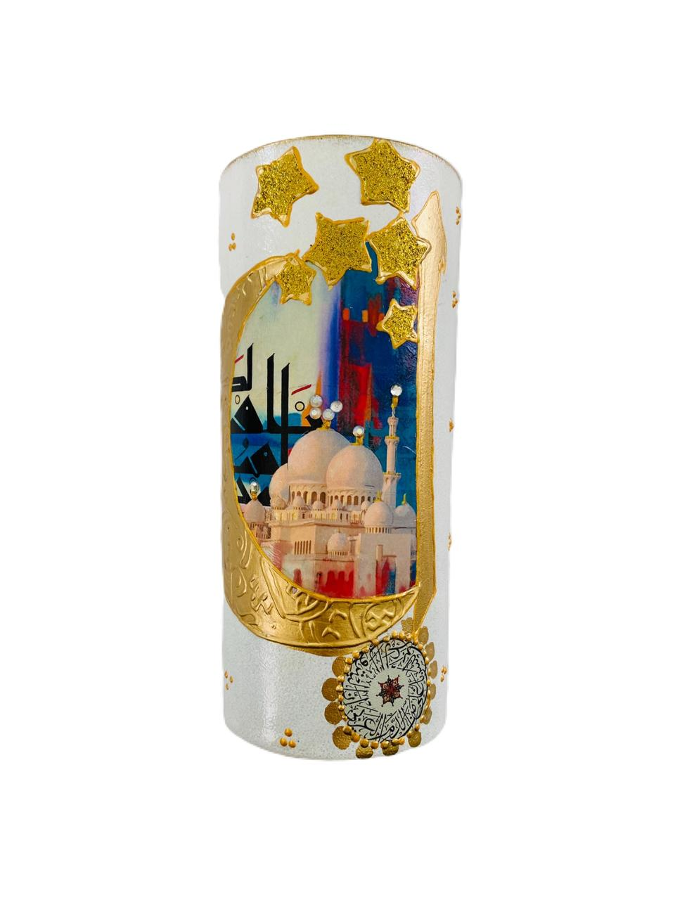 Candle Holder Handpainted - Mosque, Moon & Stars - White