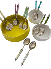 Load image into Gallery viewer, Salad Serving Set - Green MOP