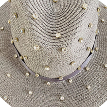 Load image into Gallery viewer, Straw Hat with Crystals