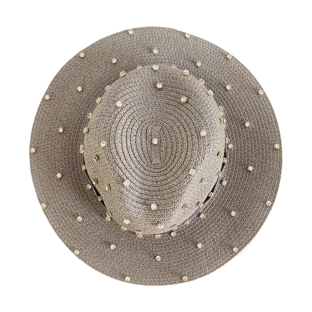 Straw Hat with Crystals