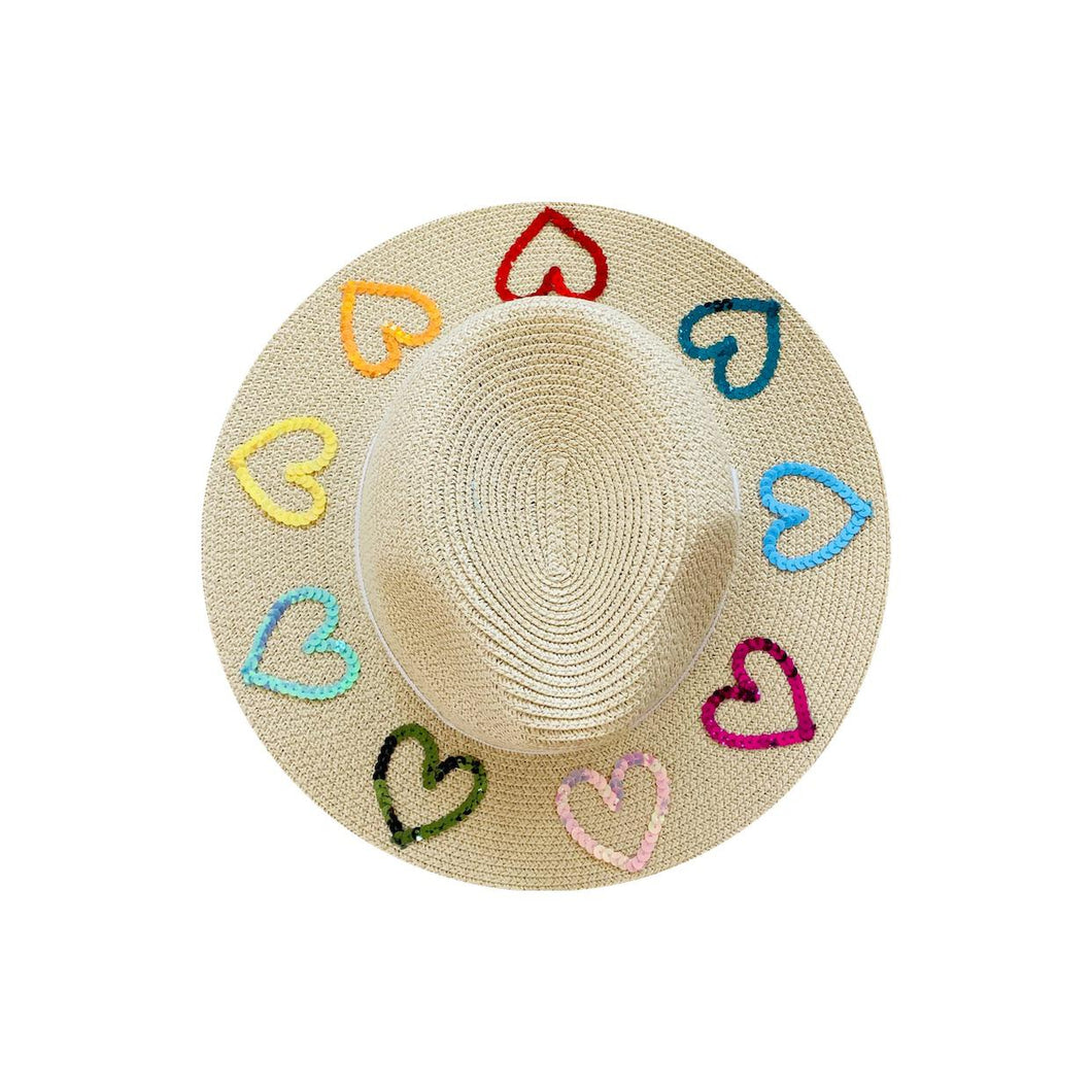 Straw Hat with Multicoloured Hearts