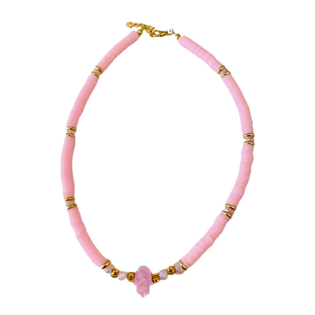 Surfer Necklace with Evil Eye - Pink