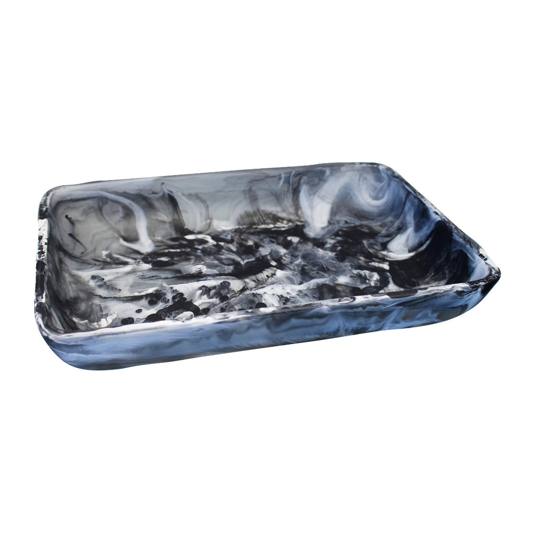 Nashi Home Resin Rectangular Tray Large - Black Swirl