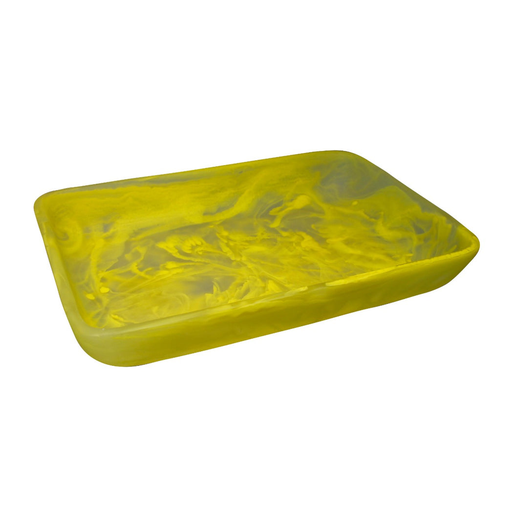 Nashi Home Resin Rectangular Tray Large - Yellow Swirl