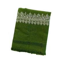 Load image into Gallery viewer, Kashmir Wool Hand Embroidered Blanket - Olive Green