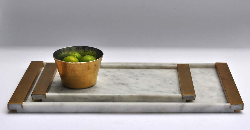 Saccal Design House Poids Plume Carrara Marble Tray