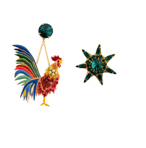 Elsa O Rooster Long Earrings