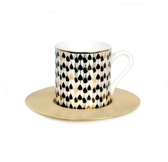 Zarina Swirl Black Espresso Cup & Saucer - Set of 6