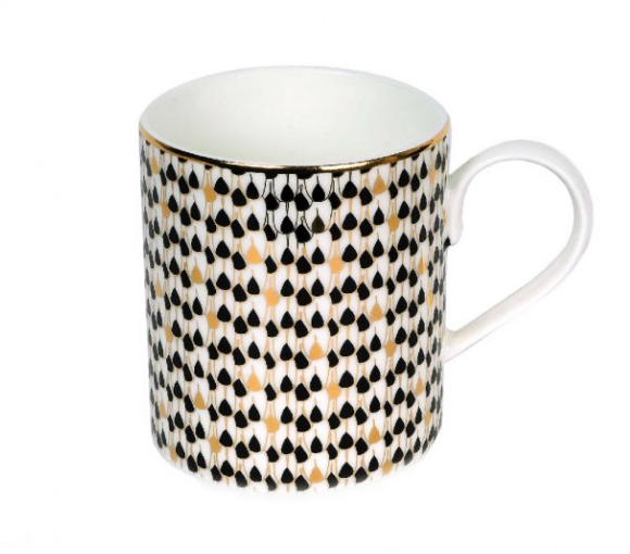Zarina Swirl Black Mugs - Set of 4