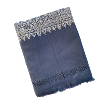Load image into Gallery viewer, Kashmir Wool Hand Embroidered Blanket - Dark Blue