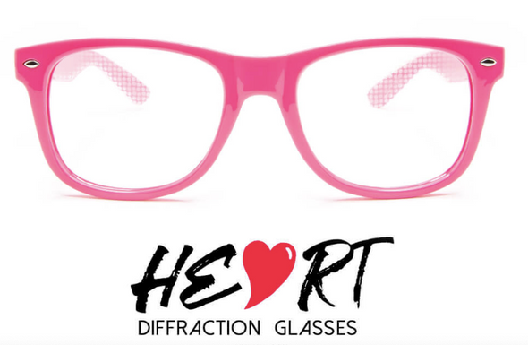 GloFX Heart Effect Diffraction Glasses-Pink