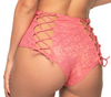 Candy Lace Back High Waist Booty Shorts