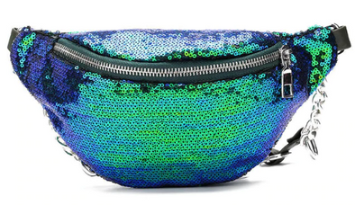Sequin Fanny Pack With Chain Green