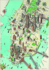 An illustrated map of Manhattan in New York City