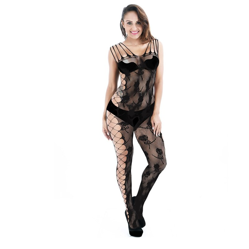 Plus Size Open Crotch Bodystockings Sexy Transparent Hollow Out Lingerie Porn Women Intimates Underwear Erotic Printed Pantyhose