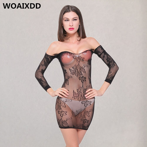 Plus Size Women Sexy Lingerie Porno Mesh Long Sleeve Mini Dress Erotic Babydoll Pajamas Costumes Baby Doll Sleepwear Underwear