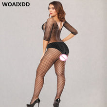 将图片加载到图库查看器,Plus Size Open Crotch Full Body Stockings Erotic Transparnt Teddies Babydoll Underwear Sexy Fishnet Lace Pantyhose Porn Clothes