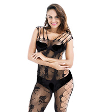 将图片加载到图库查看器,Plus Size Open Crotch Bodystockings Sexy Transparent Hollow Out Lingerie Porn Women Intimates Underwear Erotic Printed Pantyhose