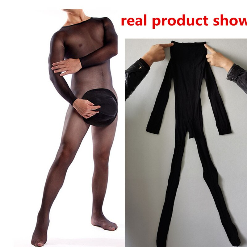 Male Body Stockings Fantasy Sexy Gay Underwear Sissy Open Crotch Jumpsuit Men Erotic Lingeries Fetish Bodysuit Men Sexy Costumes