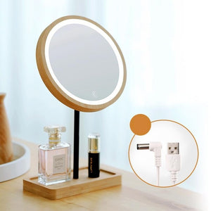 Wooden Desktop LED Makeup Mirror