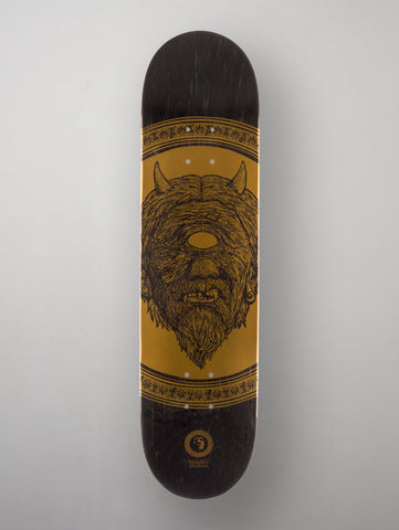 "Heathen 'Greek Series - Cyclops' Deck. Black/Gold. 8""."