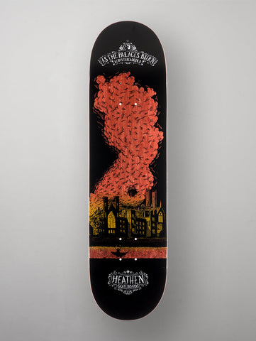 "Heathen 'Palaces Burn' - Lewis Threadgold Deck. Black/Red/Yellow. 8.25""."