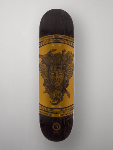 "Heathen 'Greek Series - Medusa' Deck. Black/Gold. 8.50""."