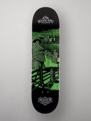 "Heathen 'Welcome Home' Nick Roberts Deck. Black/Green. 8.25""."