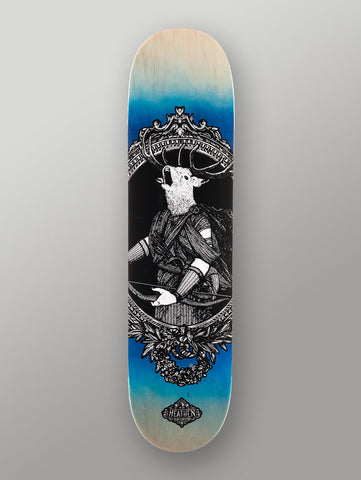 "Heathen 'Hearn The Hunter' Deck. Blue. 8""."